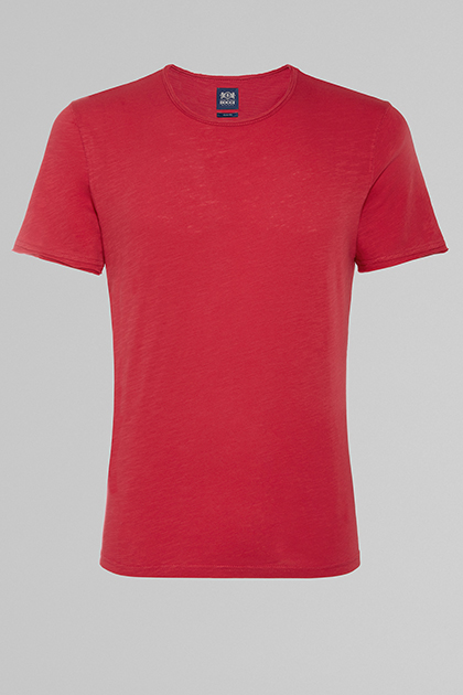FLAMED COTTON JERSEY T-SHIRT, RED, medium