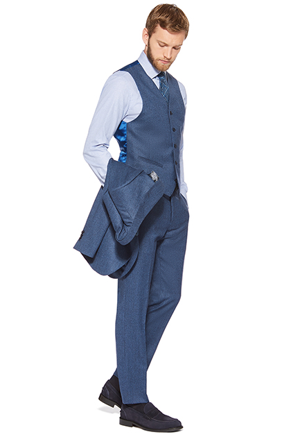 HERRINGBONE WAISTCOAT IN SUPER 120S FLANNEL, Bluette, medium