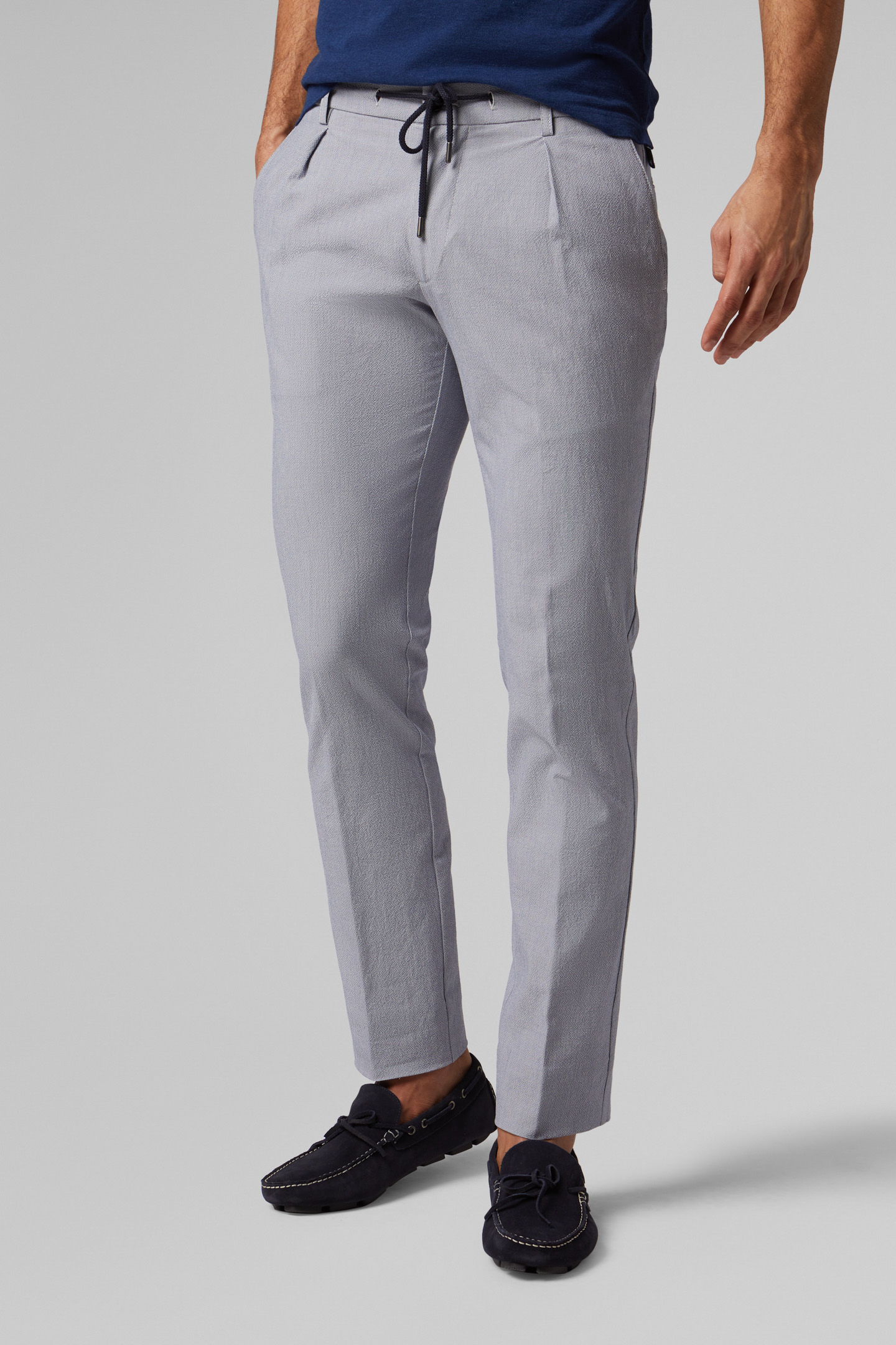Slim Fit Cotton Seersucker Trousers With Drawstring Boggi