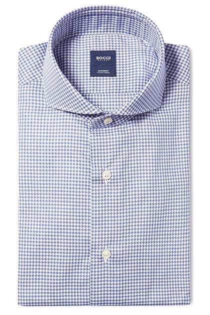 CUSTOM FIT COTTON PIQUÉ 70 SHIRT WITH NAPLES COLLAR, Blue, medium