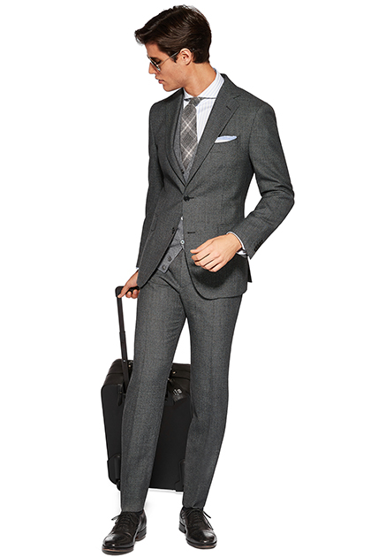 COLOURED BIRDSEYE SUIT - WOOL - MADE IN ITALY, Grey, medium