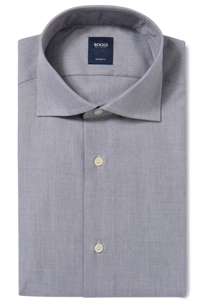 END-ON-END COTTON SHIRT WINDSOR COLLAR TAILORED FIT, Charcoal, medium