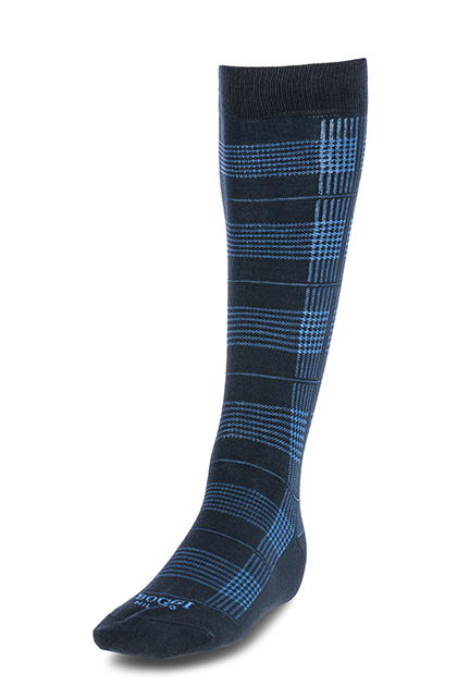 LONG HOUNDSTOOTH CHECK COTTON SOCKS - MADE IN ITALY, Navy - Light blue, medium
