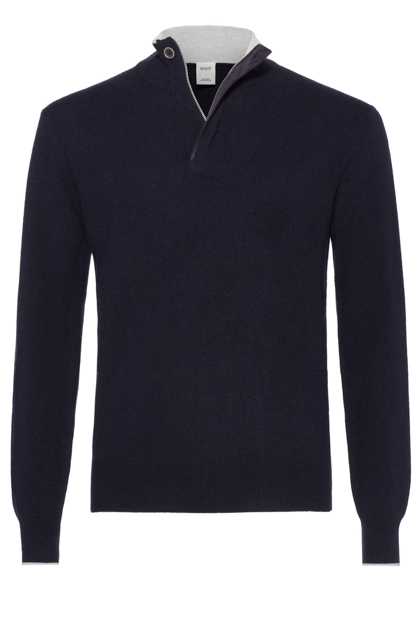 WOOL AND CASHMERE ZIP POLO NECK WITH ALCANTARA CUSTOM FIT, Navy Blue, medium