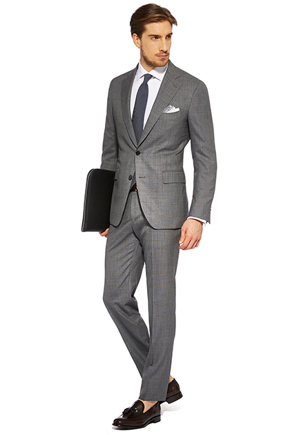 TAILORED MICRO PATTERNED SUPER 150 WOOL SUIT, , medium