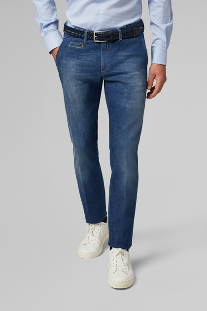 JEANS AUS BAUMWOLLSTRETCH MEDIUM WASH SLIM FIT, DENIM, medium