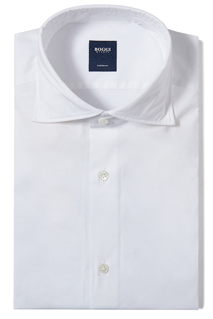 CUSTOM FIT STRETCH COTTON SHIRT WITH FLORENCE COLLAR, White, medium