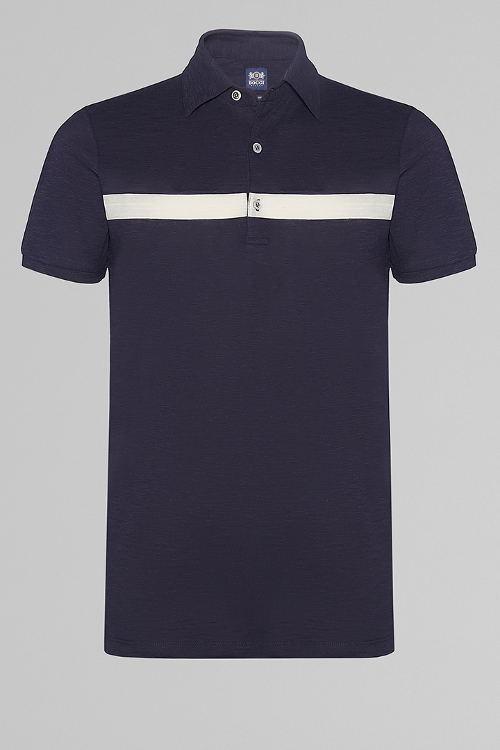 POLO BLU IN JERSEY COTONE, NAVY, large