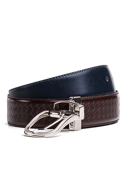 REVERSIBLE TEXTURED LEATHER BELT, NAVY - DARK BROWN, medium