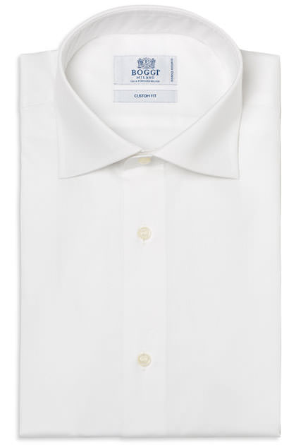 CAMICIA COTONE PIN POINT DOPPIO RITORTO COLLO WINDSOR, Bianco, medium