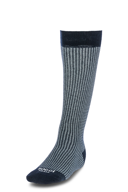 LONG HOUNDSTOOTH COTTON SOCKS - MADE IN ITALY, NAVY - GREY, medium