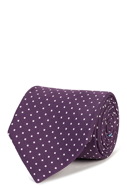 5-FOLD POLKA DOT PRINTED SILK TIE, Purple, medium