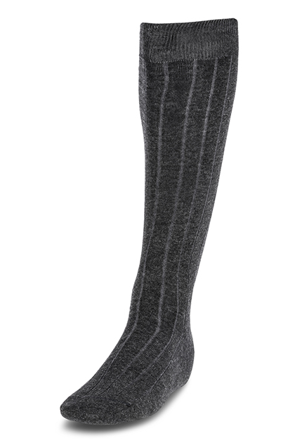 LONG RIBBED COTTON SOCKS - MADE IN ITALY, Grey, medium