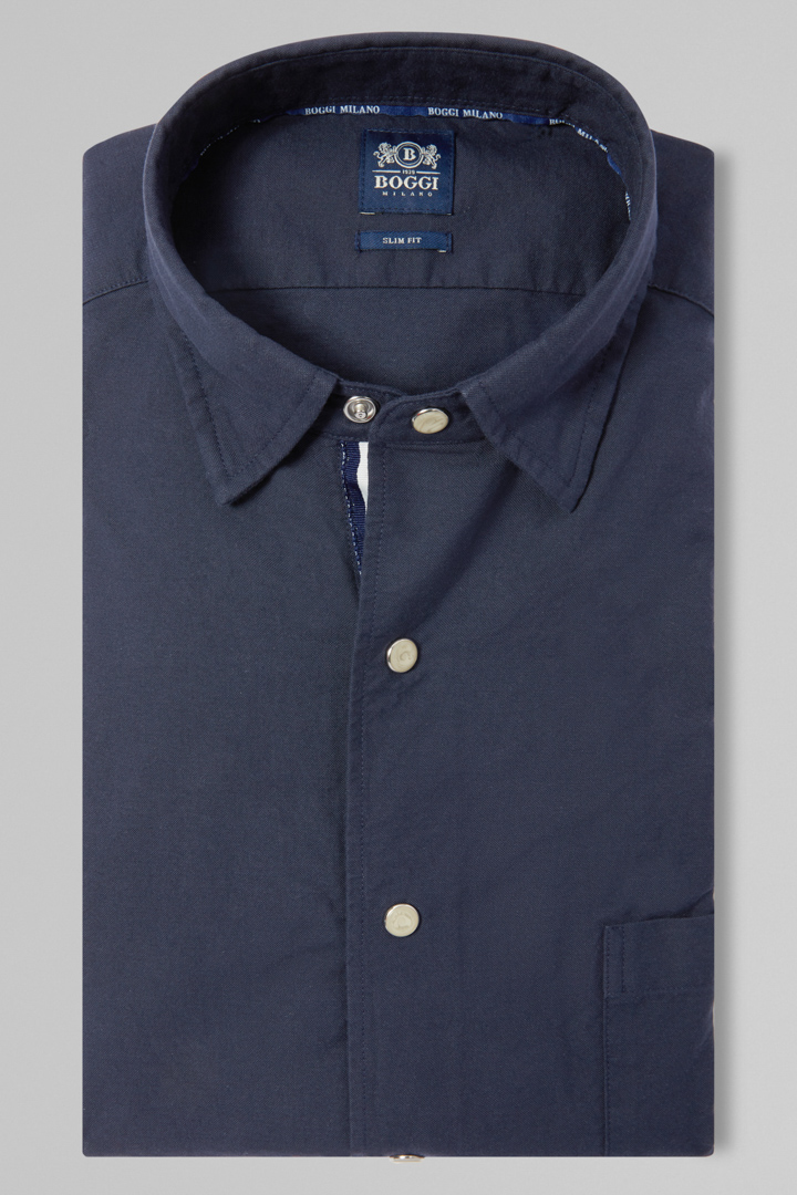 CAMICIA BLU NAVY COLLO BUTTON DOWN SLIM FIT, NAVY, large