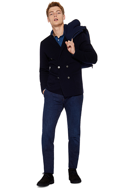 DOUBLE BREASTED KNITTED JACKET WITH BIB - 100% MERINO, CUSTOM FIT - MADE IN ITALY, Navy Blue, medium