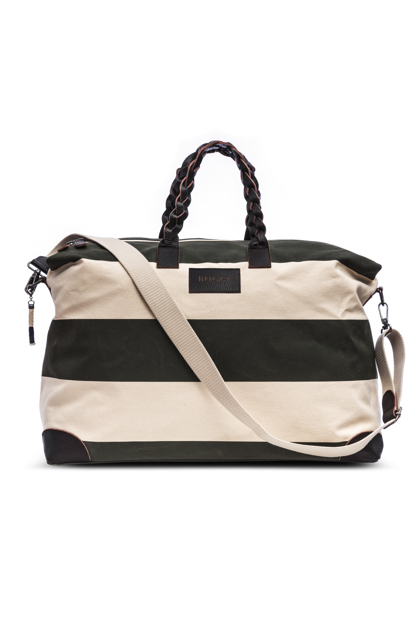 STRIPED CANVAS HOLDALL, Verde, medium