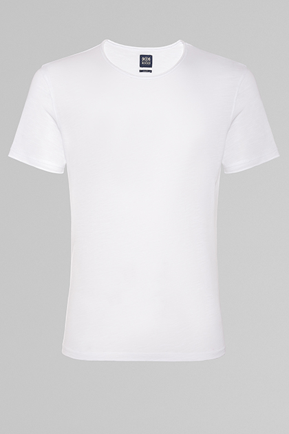 FLAMED COTTON JERSEY T-SHIRT, WHITE, medium