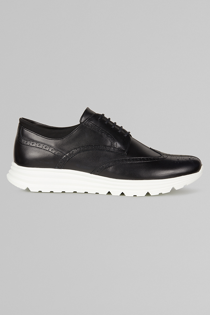 SNEAKERS IN PELLE MODELLO DERBY, NERO, large