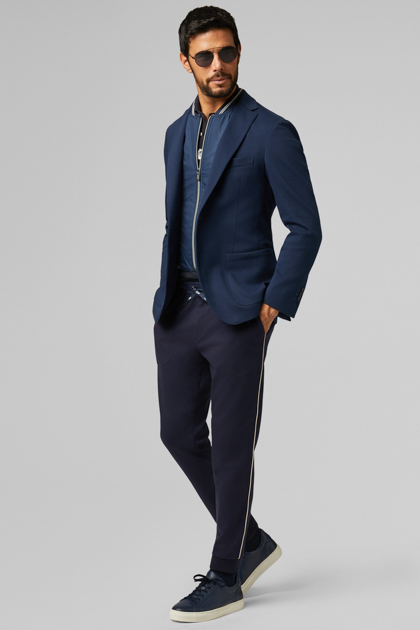 BLUE COTTON JERSEY COMO BLAZER, BLUE, medium