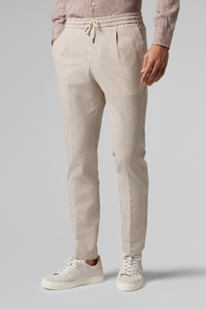 PANTALONE IN COTONE SEERSUCKER CON COULISSE REGULAR FIT, , medium