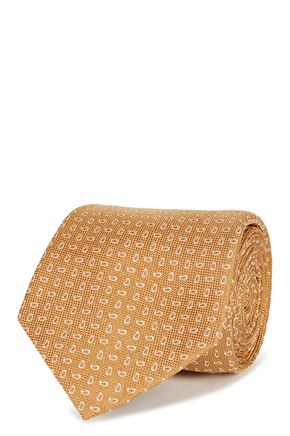 CRAVATTA PAISLEY IN SETA JACQUARD, Giallo, medium