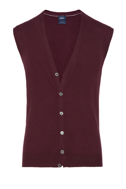 SUPERLIGHT CARDED WOOL GILET, CUSTOM FIT - MADE IN ITALY, Burgundy, medium
