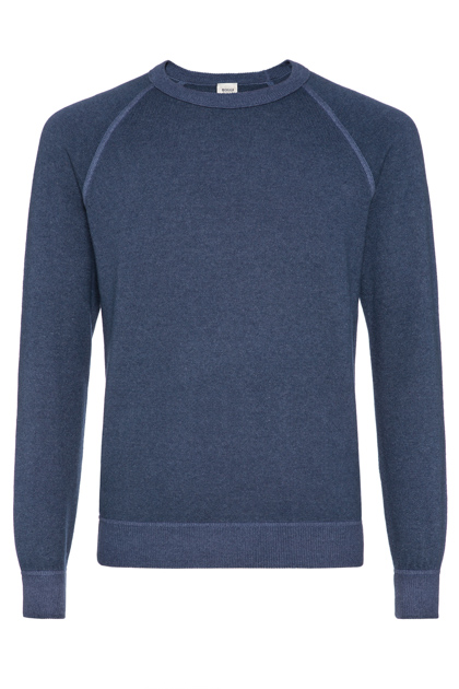 WOOL AND CASHMERE VINTAGE STYLE ROUND-NECKED JUMPER CUSTOM FIT - MADE IN ITALY, Blue, medium