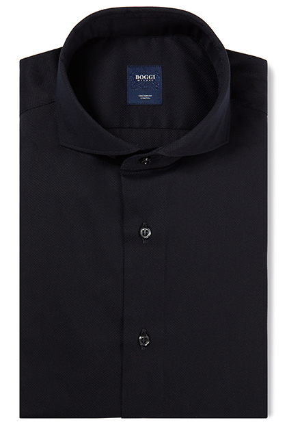 CUSTOM FIT BLUE SHIRT WITH NAPLES COLLAR, Navy Blue, medium