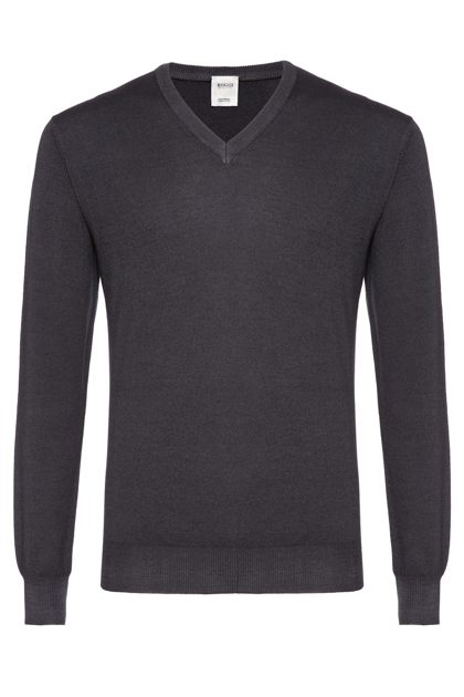 STONEWASH MERINO V-NECK JUMPER CUSTOM FIT - MADE IN ITALY, Charcoal, medium