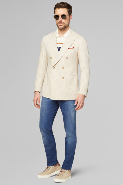 BLAZER NATURALE COMO IN COTONE E LINO, NATURALE, medium