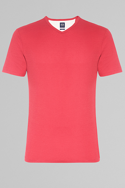COTTON & LINEN V-NECK T-SHIRT, RED, medium