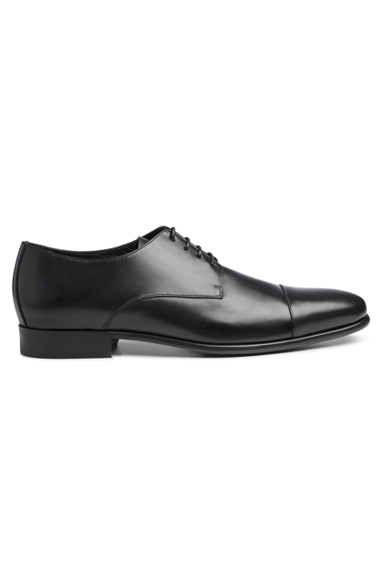 BLACK DERBY IN LEATHER & RUBBER, Black, medium