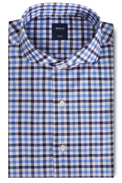 CUSTOM FIT BLUE/SKY BLUE SHIRT WITH NAPLES COLLAR, Blue - Light blue, medium