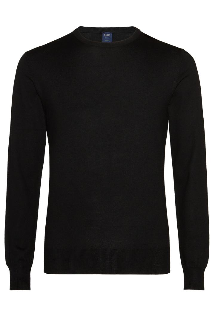 42d852822 CUSTOM FIT MERINO ROUND NECK JUMPER, Black, large