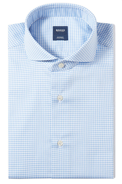 CUSTOM FIT COTTON PIQUÉ 70 SHIRT WITH NAPLES COLLAR, Light Blue, medium
