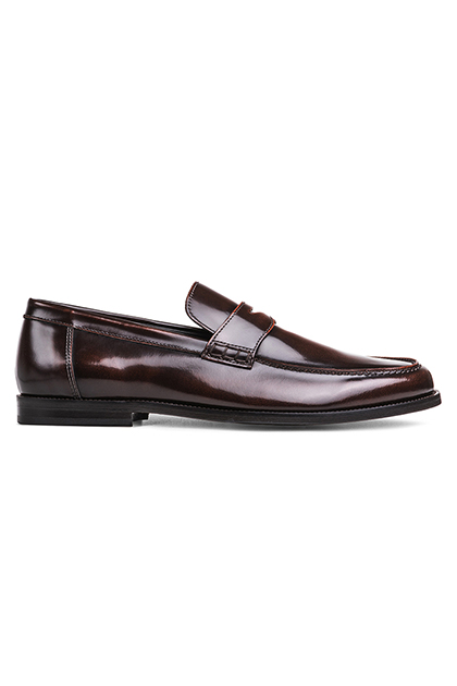 BRUSHED GLOSSY CALFSKIN MOCCASINS, Dark Brown, medium