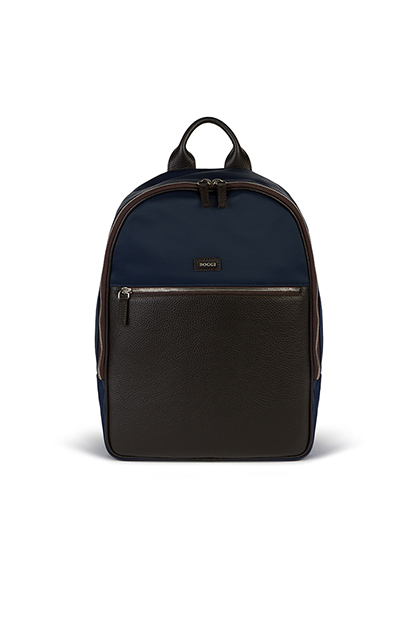 CITY RUCKSACK IN TUMBLED LEATHER AND TECHNICAL FABRIC, NAVY - DARK BROWN, medium