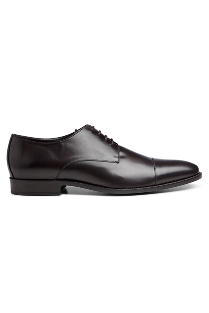 DARK BROWN DERBY IN CALF, Dark Brown, medium