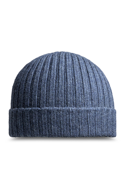 RIBBED PURE CASHMERE HAT - MADE IN ITALY, Denim, medium