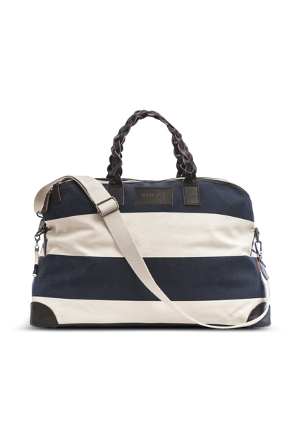 STRIPED CANVAS HOLDALL, Blu, medium