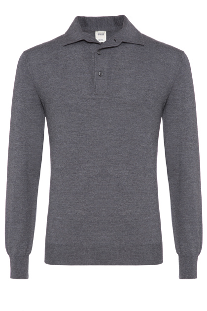 KNITTED MERINO POLO CUSTOM FIT - MADE IN ITALY, Grey, medium