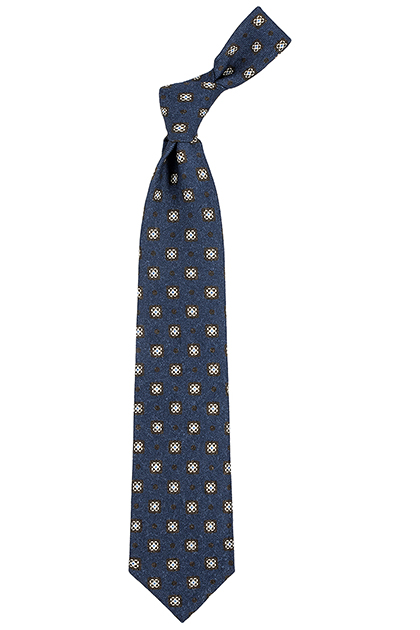 SOFT FLANNEL MACRO PATTERNED TIE - MADE IN ITALY, Blue, medium