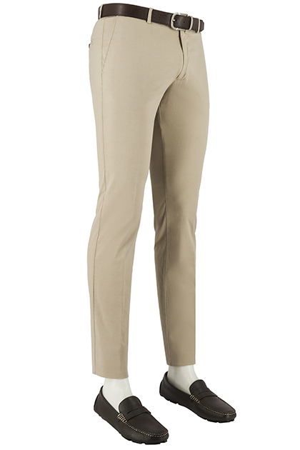 STRETCH DIAGONAL COTTON TROUSERS, Colonial, medium