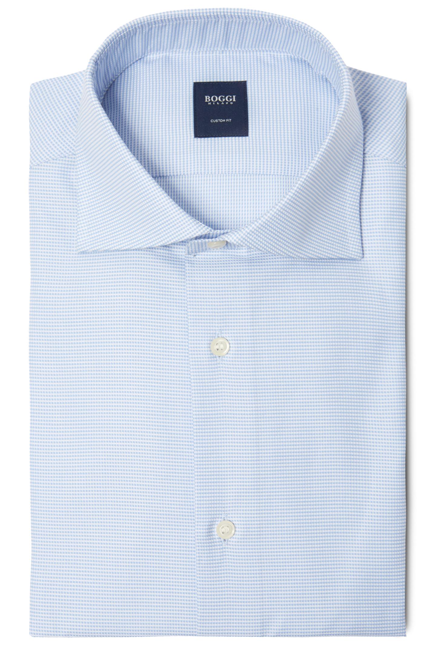 Custom Fit Textured Cotton Shirt With Windsor Collar Light Blue Boggi