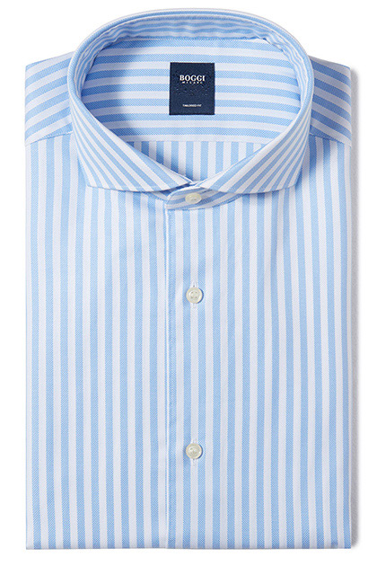 CAMICIA IN COTONE OPERATO COLLO NAPOLI TAILORED FIT, Azzurro, medium