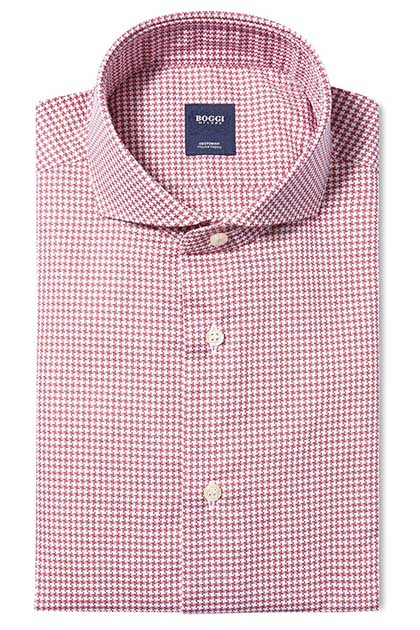 CUSTOM FIT COTTON PIQUÉ 70 SHIRT WITH NAPLES COLLAR, Red, medium