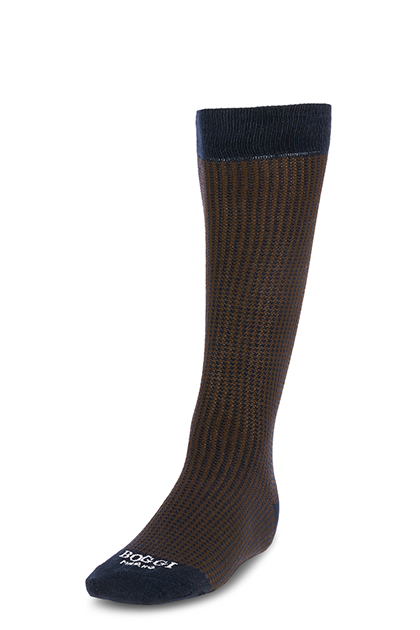 LONG HOUNDSTOOTH COTTON SOCKS - MADE IN ITALY, NAVY - DARK BROWN, medium