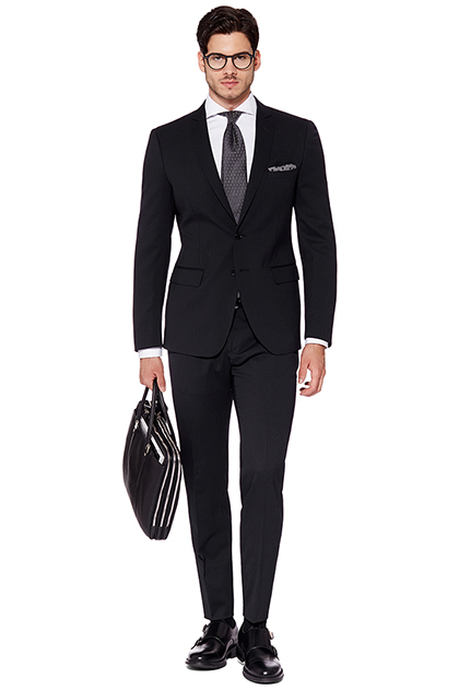 MICRO PINSTRIPE SUIT - STRETCH WOOL - MADE IN ITALY, Navy Blue, medium
