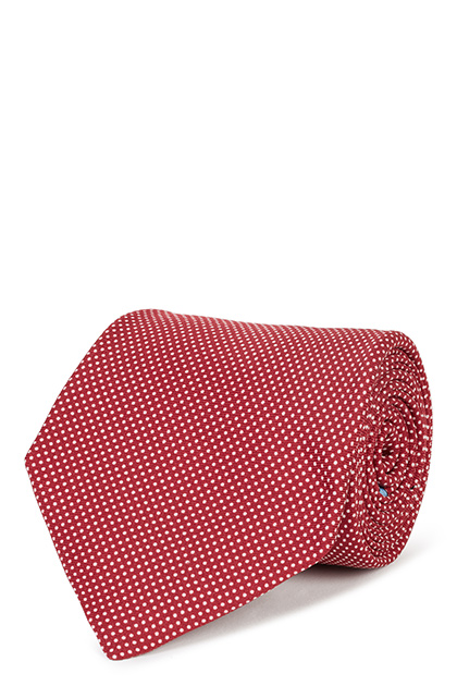 5-FOLD POLKA DOT PRINTED SILK TIE, Burgundy, medium