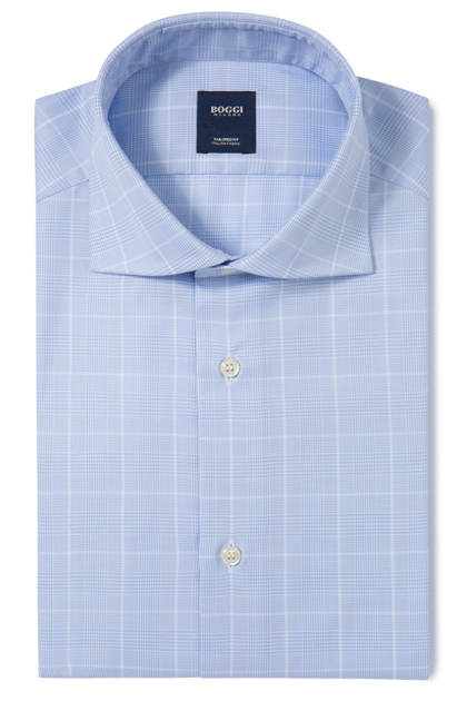 COTTON TWILL SHIRT WINDSOR COLLAR TAILORED FIT, Light Blue, medium